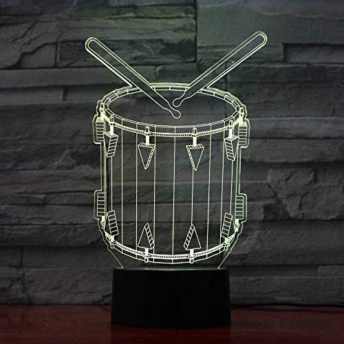 Creatieve 3D-kunst trommel modellering LED Vision muziekinstrumenten nachtlampje bureaulamp USB 7 kleuren veranderen slaapverlichting Home Decor