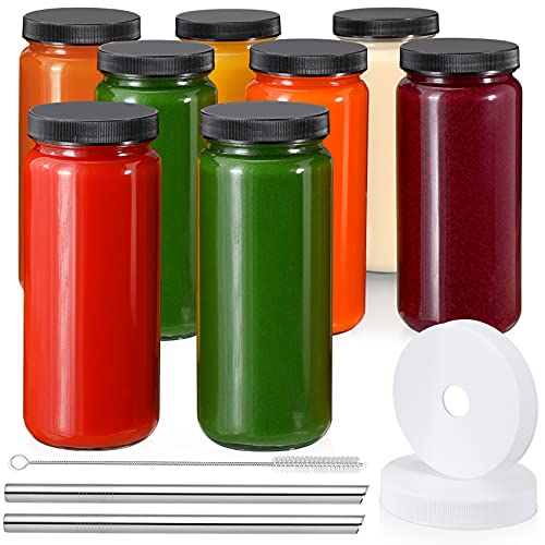 [ 8 Pack ] Glass Juicing Bottles with 2 Straws & 2 Lids w Hole- 16 OZ Travel Drinking Jars, Water Cups with Black Airtight Lids, Reusable Tall Mason Jar for Juice, Boba, Smoothie, Tea, Kombucha
