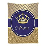 Personalized Baby Blanket Royal Blue Gold Prince Custom Nursery Swadding Blankets with Name 30x40 Inches for Boys Girls Baby Shower Birthday Gift