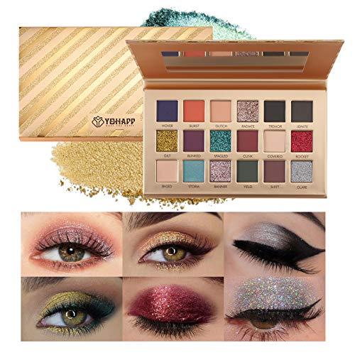 Mimore - Sombra de ojos de 18 colores, ultra pigmentada, natural, mate, dorado, con brillo, brillo, paleta de sombras de ojos, paleta de sombras de ojos profesional impermeable de larga duración