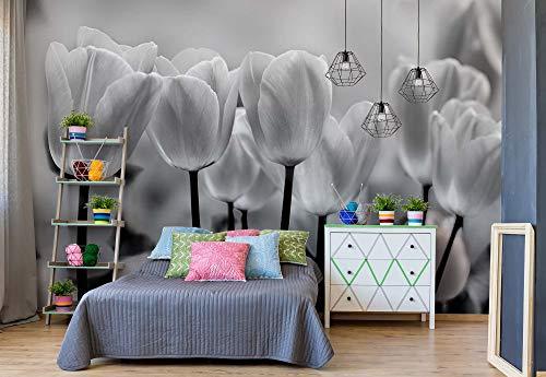 Tulpen Blumen Schwarz Und Weiß Vlies Fototapete Fotomural - Wandbild - Tapete - 368cm x 254cm / 4 Teilig - Gedrückt auf 130gsm Vlies - 287V8 - Blumen