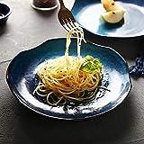 Encaje Japonés Creativo Vajilla de Cerámica Underglaze Cena de Porcelana Azul Ensalada de Frutas Plato de Filete Casero Restaurante Snack Bandeja de Sushi 8.5 Pulgadas ( Color : Blue (8.5'/575g) )