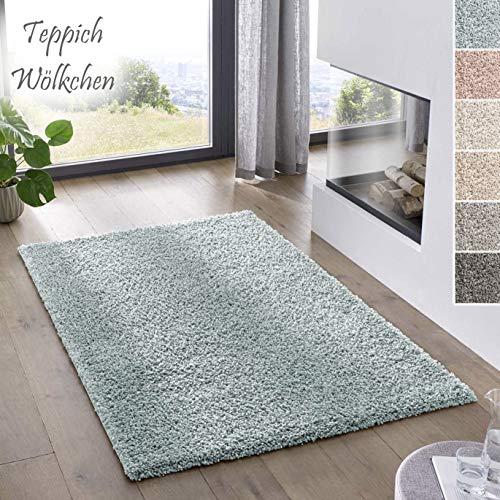 Teppich Wölkchen Shaggy-Teppich   Flauschiger Hochflor für Wohnzimmer, Kinderzimmer oder Flur Läufer   Einfarbig, Schadstoffgeprüft, Allergikergeeignet I Tuerkis - 120 x 170 cm
