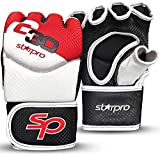 Starpro MMA Grappling Gloves Training - Good for Kickboxing Martial Arts Karate Combat Cage Fight Sparring Punch Bag Boxing Mitts | Synthetic Leather for Men & Women White & Red