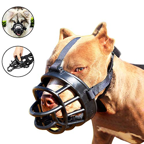 Dog Muzzle,Soft Basket Muzzle for Dogs,Adjustable and Comfortable Secure Pet Muzzle Fit for Medium Large Extra Dog,Best to Prevent Biting, Chewing and Barking, Allows Drinking and Panting