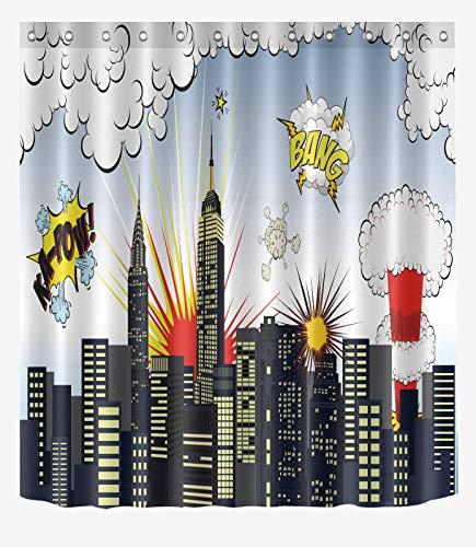 Super Hero City Shower Cortina de ducha de poliéster, impermeable, material de poliéster, lavable a máquina, esencial