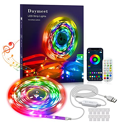 Led Strip Lights DAYMEET 33FT RGBIC Rainbow LED Strips Color Changing Lights Synchronously Music Sync Built-in Mic Bluetooth with App and Remote Controller Led Lights for Bedroom Home Kitchen Room
