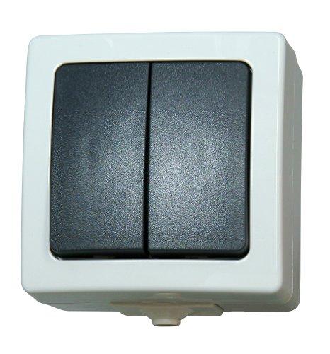 Kopp Nautic Serienschalter mit 2 Wippen, Aufputz, Lichtschalter für Feuchtraum, 250V (10A), IP44, Basiselement mit Komplettgehäuse, herausnehmbarer Sockel, für 2 Leuchtmittel, grau, 565556008