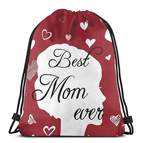 LTtie Gym Drawstring Bags, Best Mom Ever Tote Backpack Sackpack For Students Gym Sack Bag For Hiking Yoga Tennis Shoes Storage Bag