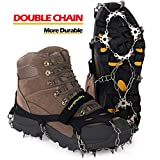 EnergeticSky Upgraded Version of Walk Traction Ice Cleat Spikes Crampons,True Stainless Steel Spikes and Durable Silicone,/Boots for Hiking On Ice&Snow Ground,Mountian (Black, XL)