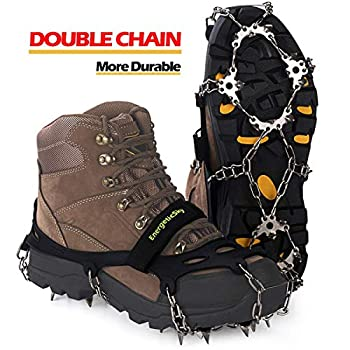 Upgraded Version of Walk Traction Ice Cleat Spikes Crampons,True Stainless Steel Spikes and Durable Silicone,Boots for Hiking On Ice & Snow Ground,Mountian.