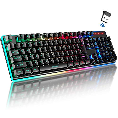GUIZREN Chroma Rechargeable Wireless Gaming Keyboard, LED Rainbow Backlit, Ergonomic Full Size Keyboard with 7 Color Changing Multimedia Keys, for Teclado Gamer PC, Computer, Desktop, Laptop