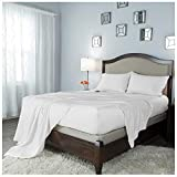 JVIN FAB 800 TC 100% Pure Cotton Bed Sheets 4Pc Queen Size White
