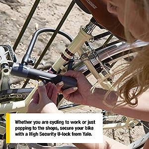 Yale YUL2C/13/230/1 High Defendor U - Candado para bicicleta con cable (color plateado y negro)