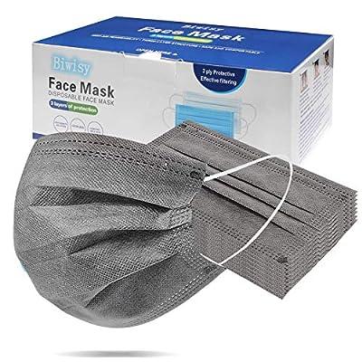 Biwisy 50 Pcs Disposable Face Masks Comfortable Mask 4-Layer Grey Masks