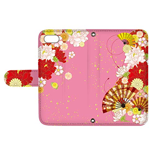 スマQ iPhone8Plus iPhone 8 Plus 国内生産 カード スマホケース 手帳型 Apple アップル アイフォン エイト プラス 【A.ピンク】 和風 扇子 花柄 お花 ami_vc-533_sp