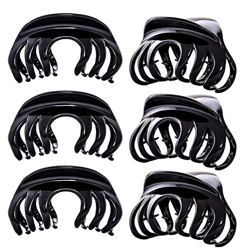 RC ROCHE ORNAMENT 6 Pcs Womens Elegant Premium Luxe Chic Styling Sectioning Super Strong Hold Non Slip Big Hair Pin Grips Claw Jaw Clamp Clips, Large Black