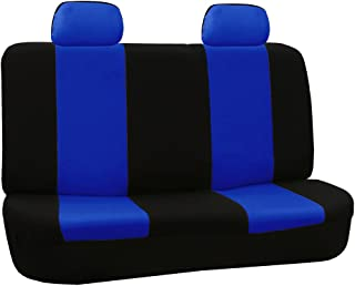 FH Group FH-FB050012 Solid Bench Flat Cloth Car Seat Cover, Blue/Black - Fit Most Car, Truck, SUV, or Van