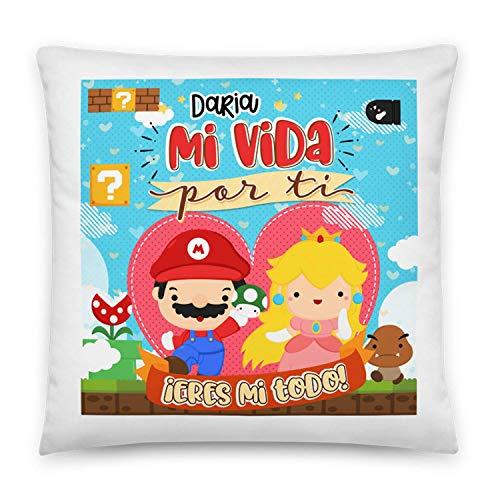 Kembilove Cojines para Parejas – Cojín para el sofá con Unos Mensajes y Colores únicos – Cojines para Parejas de Mario Bros – Ultra-Suave y cómodo – Regalo Ideal para San Valentín