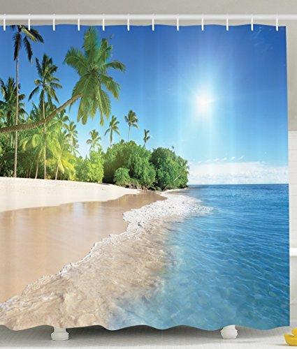 BBFhome Ozean-Dekor-Kollektion Tropische Palmen an einem sonnigen Insel-Strand-Szene Panorama Bild ansehen Polyester-Gewebe 180 x 180 cm Bad Duschvorhang Set mit Haken Blau Grün Weiß Multicolor