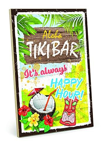 """TypeStoff Placa de madera con texto en inglés """"Aloha Tiki Bar"""", estilo vintage, regalo para fiesta y feliz"""
