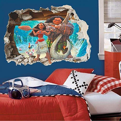 3D-Effekt Moana Durch Wandaufkleber Für Kinderzimmer Cartoon Film Vaiana Wandtattoos Pvc Moana Maui Poster Diy Tapete 50X70Cm