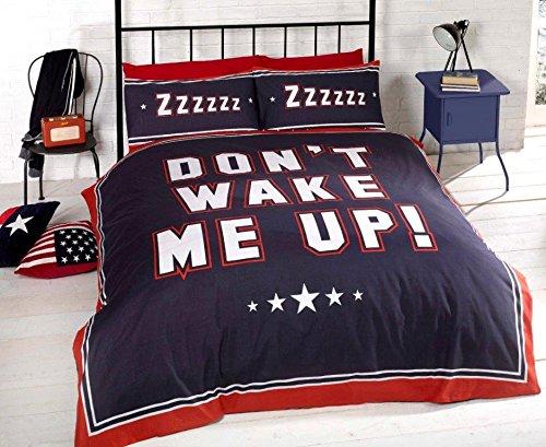 Don't Wake Me Up pour lit simple Bleu marine/bleu/blanc/rouge-Parure de lit réversible