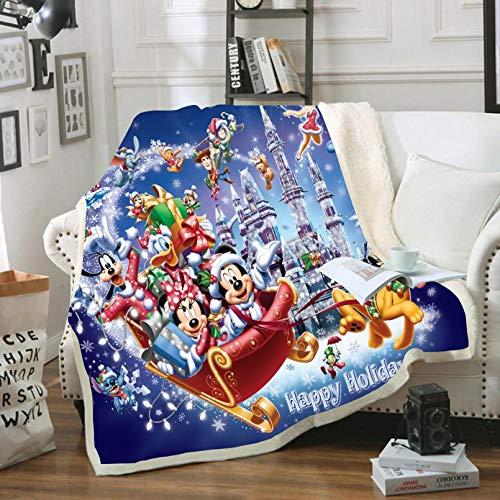 BATTE Manta de Mickey y Minnie Mouse de dibujos animados de Navidad, para niños adultos, 100% microfibra, para sofá de cama y viaje (16,150 x 200 cm)