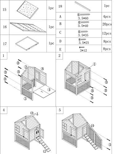 dobar 24001FSC Doppelstöckiger Hühnerstall mit Freigehege auf 2 Etagen, fuchssicher mit verstärktem Zinkdraht, FSC-Holz, Zinkwanne, Doppelboden, Plexiglas-Fenster, 173 x 66 x 120 cm - 5
