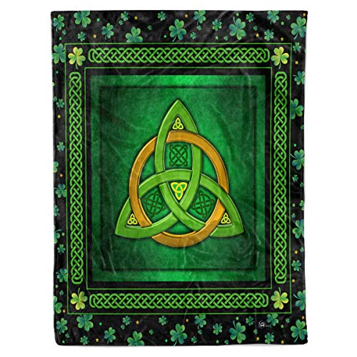 Celtic Trinity Knot Quilt Pattern Blanket Comforters with Reversible Cotton King Queen Full Twin Size Irish Shamrock Clover Quilted Birthday Gifts