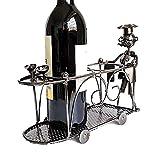 Tangrong Botellero, Muebles creativo ornamento Crafts autoportante soporte for botella de vino del metal, personalidad única encimera ornamento Hierro forjado exhibición de la botella de vino Estante,