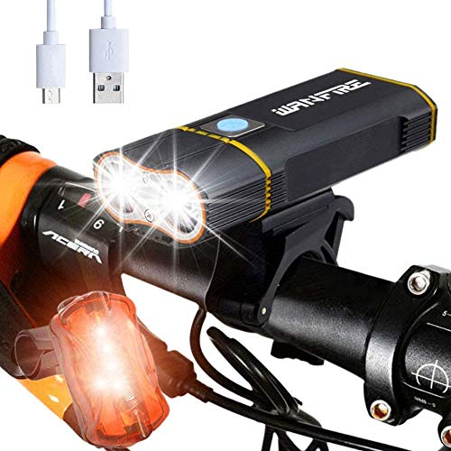 CPZ Fahrradlicht, 6000 Lumen wiederaufladbares USB-Fahrradlicht Set, IPX6 wasserdicht und stoßfest, Fahrradscheinwerfer XM-L2, eingebauter 6000 mAh Akku, mit Rücklicht