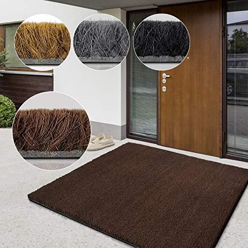 casa pura Alfombras Coco Natural - Felpudo Natural | Fibra de Coco Premium | Alfombras Coco al Corte | Absorbente y Resistente | 17mm - Marrón, 40x60 cm