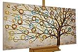Kunstloft® Cuadro en acrílico 'Blues de otoño' 140x70cm | Original Pintura XXL Pintado a Mano sobre Lienzo | Árbol de la Vida Abstracto Beis Marrón | Cuadro acrílico de Arte Moderno con Marco
