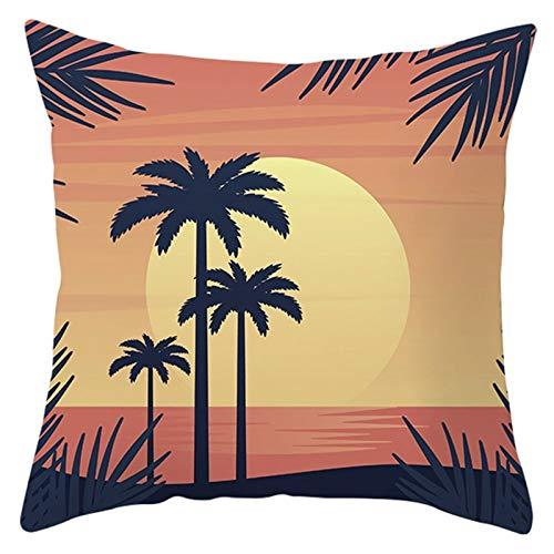 Adokiss Fundas de cojín de poliéster con puesta de sol, diseño de árbol de coco, suave, cuadradas, para sofá, dormitorio, salón, naranja, verde, 50 x 50 cm, estilo 21