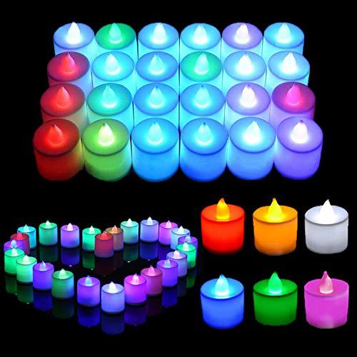 Uhat® Lot de 24 bougies chauffe-plat LED sans flamme à couleur changeante pour célébration, fête, cadeau, Saint Valentin