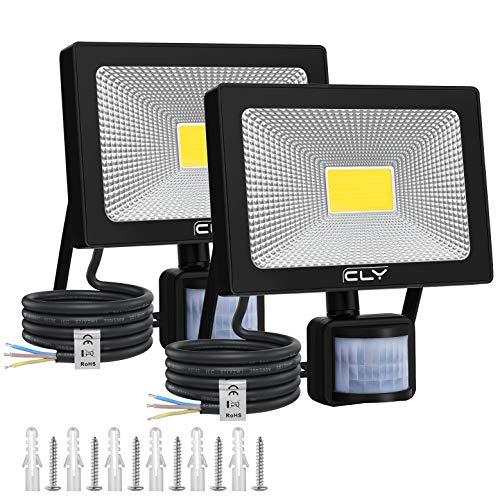 CLY 2Pack 54W Foco exterior con sensor de movimiento, 6500K 5400Lum Foco LED para jardín con...
