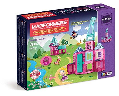Magformers Princess Castle 78 Pieces Pink and Purple Colors, Educational Magnetic Geometric Shapes Tiles Building STEM Toy Set Ages 3+