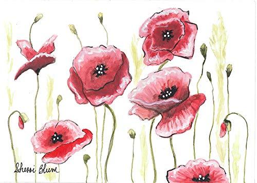 Dance of the Poppies Paper Prints, Watercolor Art by Sherri Blum