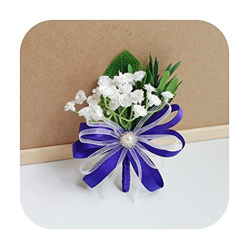 Art Flower Boutonniere Flowers Corsage Pin Boutonniere Buttonhole Men Wedding Bracelet Bridesmaid Wedding Buttonhole Witness Corsage-J Corsage-