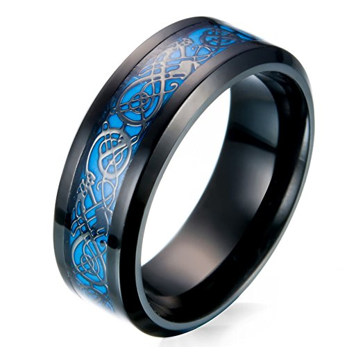 JAJAFOOK Men's 8mm Black Carbon Fiber Celtic Dragon Blue Luminous Effect Ring Band Glow in The Dark