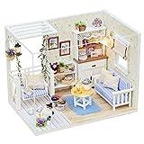 Amasawa Puzzle Juguetes Puzzles 3D Hecho a Mano Miniatura Casa,Realistic Mini 3D Wooden House Room Juguete Hecho a Mano con Muebles Luces LED Navidad Cumpleaños Regalo de Boda