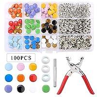 100/200セットスナップファスナーキットツール、ファスナープライヤー付き金属スナップボタンリング衣料品縫製10色 (Color : B 100pcs x tools)