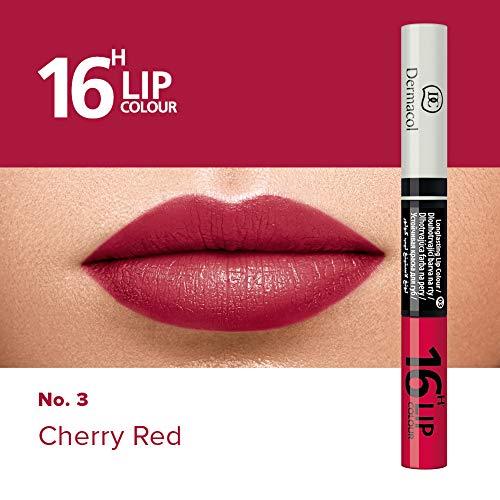 Dermacol 2-in-1 langanhaltende Lippenfarbe & Gloss Kussecht und ohne Lippenstiftflecken - Brillanter Lippenstift mit kräftiger Farbe - Lipstick 16H, Nr. 3 Cherry Red, 7,1 ml