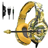 ONIKUMA Stereo Gaming Headset for PS4, Xbox One Headset with 7.1 Surround Sound, Noise Canceling Mic, Soft Memory Foam Ear Pads, LED Light, Over-Ear Headphones for PC, Laptop, Mac (Yellow Camouflage)