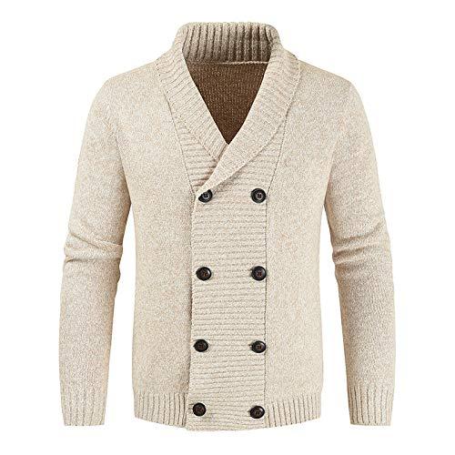 Suéter de Solapa para Hombre, Prendas de Punto, clásico, Cruzado, Engrosado, otoño e Invierno, cálido, Liso, Informal, suéter, cárdigan XX-Large
