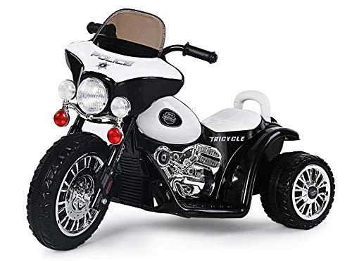 Toker Harley Kindermotorrad Elektro Dreirad Kinder Polizei Motorrad Kinderfahrzeug Kindermotorrad Chopper Weiss/Schwarz JT568-BLACK