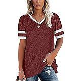 Mayntop Camiseta para mujer para verano, liso, de color liso, a rayas, suelta, talla grande, manga corta, cuello en V, blusa, A-vino, 42