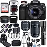 Canon EOS 90D DSLR Camera + Canon EF-S 18-55mm + Canon EF-S 55-250mm Lens & Telephoto 500mm f/8.0 + 0.43 Wide Angle Lens + 2.2 Telephoto Lens + Macro Filter Kit + 64GB Memory Card + Accessory Bundle