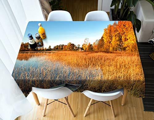Rubyia Mantel para el Te, Table Cloth Árboles del Bosque de Juncos Estampado para Mesa Cocina, Poliester, 90 x 140 cm, Naranja Amarillo